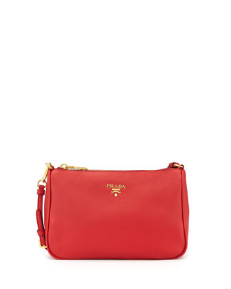 Vitello Small Shoulder Bag, Red (Fuoco)