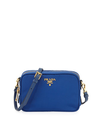 Tessuto Small Crossbody Bag, Blue (Bluette)