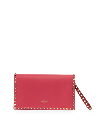 Rockstud Pop Flap Wristlet Clutch Bag, Pink/Red/Green