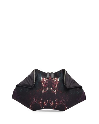 De-Manta Moth-Print Clutch Bag