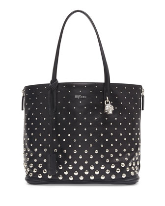 Padlock Small Studded Shopper Bag, Black/White