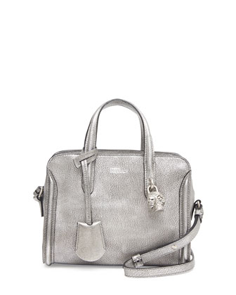 Mini Padlock Zip-Around Tote Bag, Silver