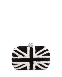 Britannia Skull-Clasp Mink Fur Clutch Bag, Black/White