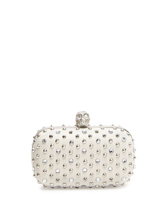 Stud & Crystal Skull-Clasp Clutch Bag, White