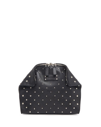 De-Manta Studded Cosmetic Case, Black