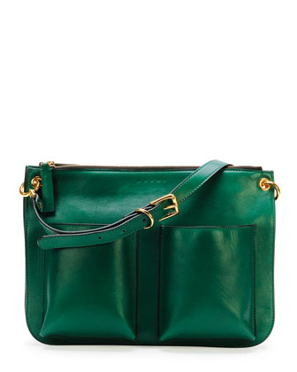 Bandoleer Soft Leather Shoulder Bag, Green