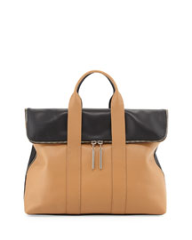 31-Hour Fold-Over Satchel Bag, Nude/Black