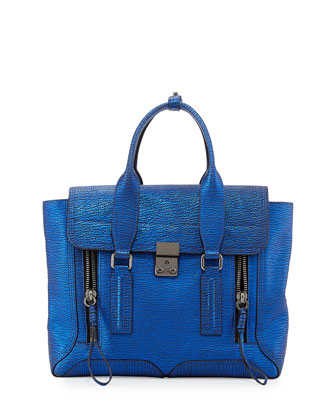 Pashli Medium Zip Satchel Bag, Electric Blue