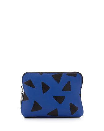 31 Second Leather Zip Pouch, Bright Cobalt/Black