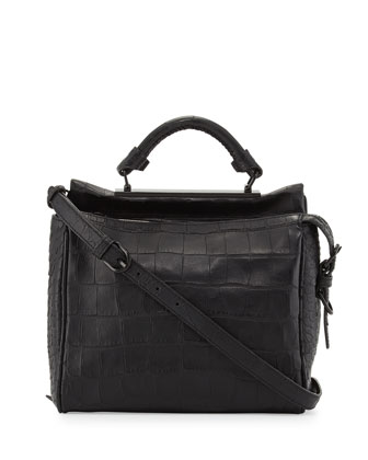 Ryder Small Croc-Embossed Satchel Bag, Black