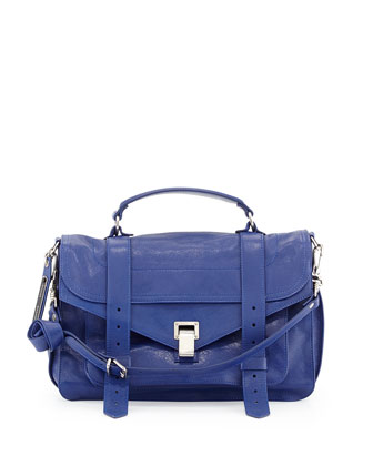 Lambskin Medium Shoulder Bag, Cobalt