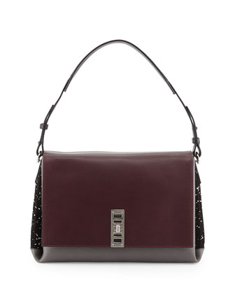 PS Elliot Calfskin Shoulder Bag, Burgundy