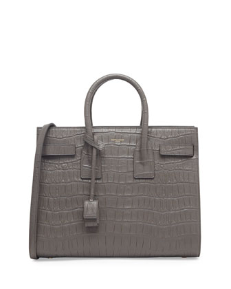 Sac de Jour Croc-Print Carryall Bag, Gray