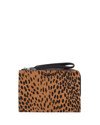 Pyramid Spotted Slim Wristlet Clutch Bag, Cognac/Black