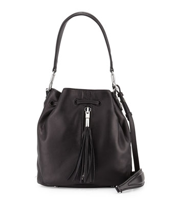 Cynnie Tassel Mini Bucket Bag, Black