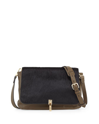 Leather & Calf Hair Crossbody Bag, Black/Moss