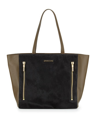 James Calf Hair Tote Bag, Black/Moss