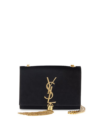 Monogramme Small Suede Tassel Crossbody Bag, Black