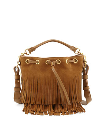 Small Suede Fringe Bucket Shoulder Bag, Tan
