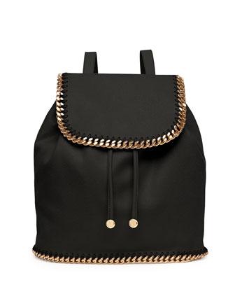 Falabella Shaggy Deer Backpack, Black/Gold