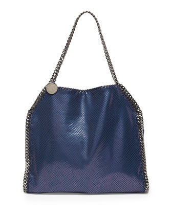 Baby Bella Faux-Python Tote Bag, Navy