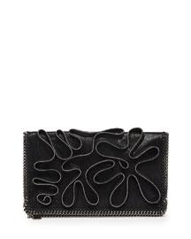 Falabella Zipper-Trim Fold-Over Clutch Bag, Black