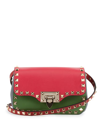 Rockstud Italian Pop Crossbody Bag, Pink/Red/Green