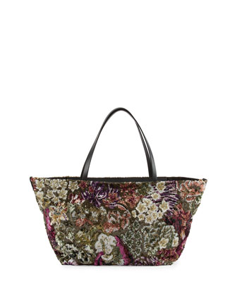 Floral Sequin Medium Tote Bag