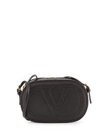 Logo-Go Small Calfskin Crossbody Bag, Black