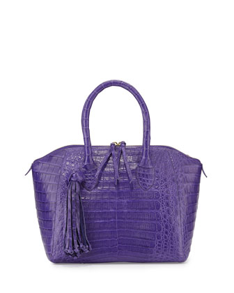 Small Crocodile Tassel Satchel Bag, Purple