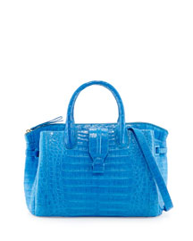 Cristina Medium Crocodile Tote Bag, Blue