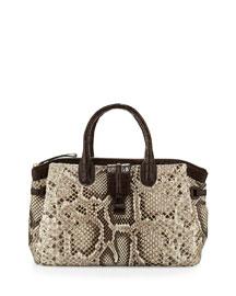 Cristina Medium Crocodile/Python Tote Bag, Natural/Crackle