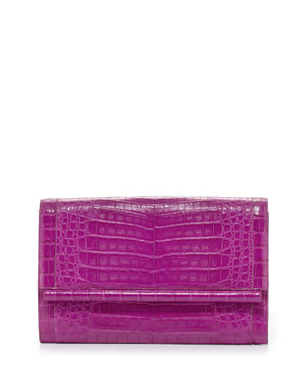 Large Crocodile Bar Clutch Bag, Magenta