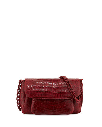 Crocodile Chain-Strap Shoulder Bag, Red
