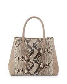Small Python & Crocodile Tote Bag, Natural/Sand