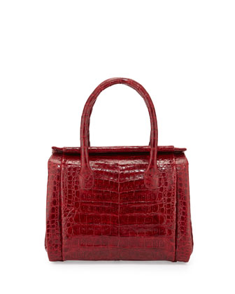 Crocodile Small Satchel Bag, Red