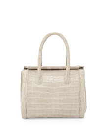 Crocodile Small Satchel Bag, Sand