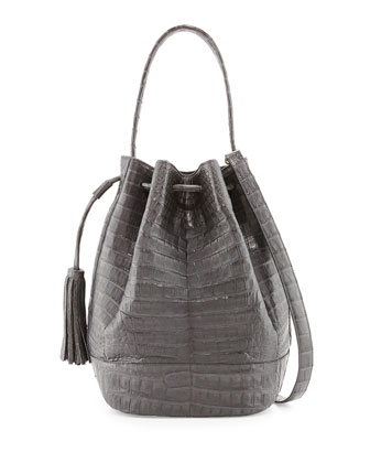 Medium Crocodile Tassel Bucket Bag, Charcoal