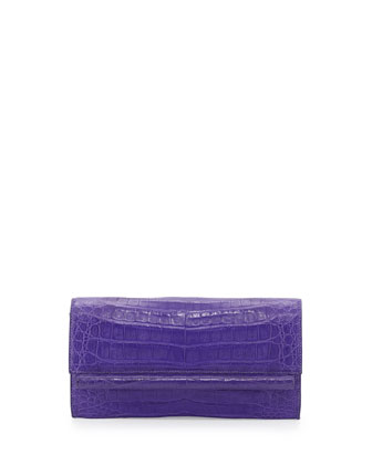 Cylinder-Front Crocodile Bar Clutch Bag, Purple