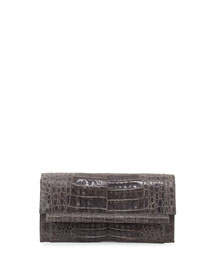 Cylinder-Front Crocodile Bar Clutch Bag, Gray
