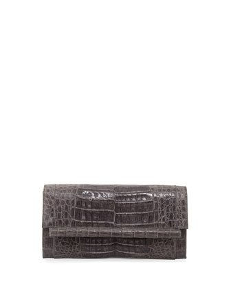 Cylinder-Front Crocodile Bar Clutch Bag, Gray