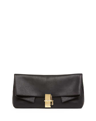 Drew Folded Leather Clutch Bag, Black
