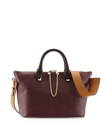 Baylee Medium Calfskin Satchel Bag, Purple/Brown