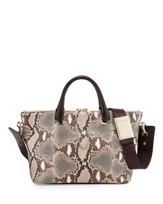 Baylee Medium Python Shoulder Bag, Light Pink
