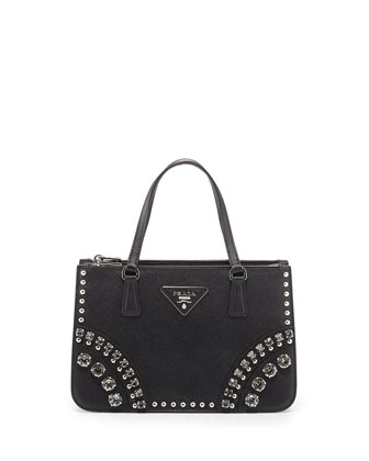 Saffiano Mini Crystal-Studded Tote Bag, Black (Nero)