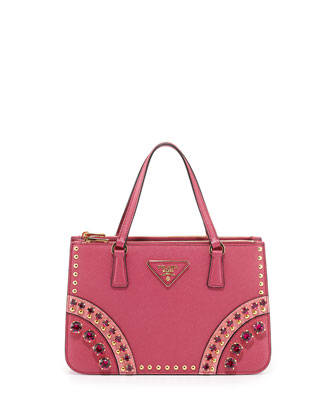 Bicolor Saffiano Mini Crystal-Studded Tote Bag, Pink Multi (Fuchsia Geranio)