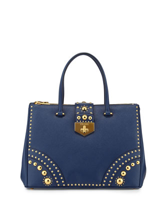 Studded Saffiano Medium Turn-Lock Tote Bag, Blue (Bluette)