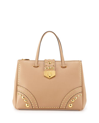 Studded Saffiano Turn-Lock Tote Bag, Beige (Sabbia)