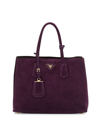 Suede Medium Double-Pocket Tote Bag, Dark Purple (Prugna)