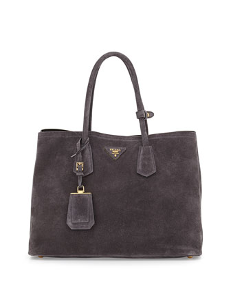 Suede Medium Double-Pocket Tote Bag, Charcoal (Ematite)